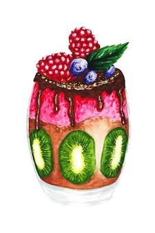 Ręcznie malowana akwarelowa ilustracja musu deserowego