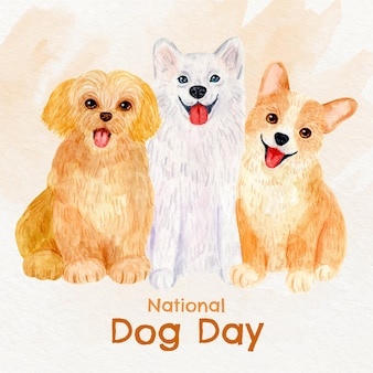 Ręcznie malowana akwarelowa ilustracja narodowy dzień psa dog