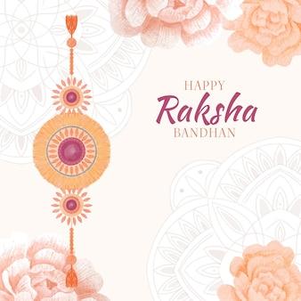 Ręcznie malowana akwarelowa ilustracja raksha bandhan