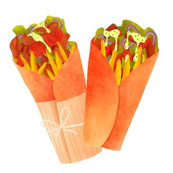 Ręcznie malowana akwarelowa ilustracja shawarma