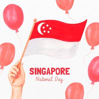 Ręcznie malowana akwarelowa ilustracja święta narodowego singapuru