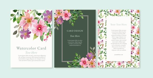 Ręcznie malowana akwarelowa kolekcja kart kwiatowych