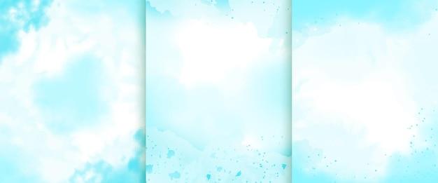 Ręcznie malowana akwarelowa kolekcja niebieskiego tła
