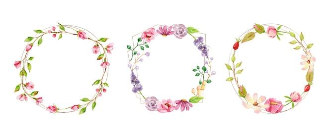 Ręcznie malowana akwarelowa kolekcja wieniec kwiatowy