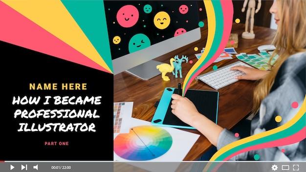 Ręcznie malowana akwarelowa miniatura youtube