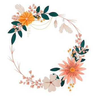 Ręcznie malowana akwarelowa ramka boho z kwiatami
