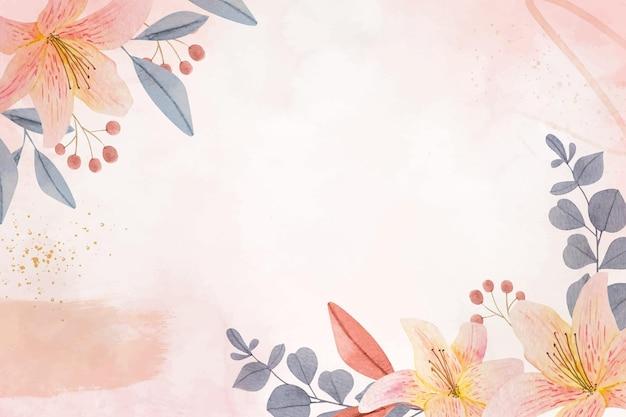 Ręcznie malowana akwarelowa tapeta w kwiaty