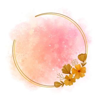 Ręcznie malowana akwarelowa złota rama