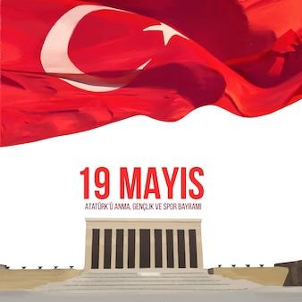 Ręcznie malowana akwarelowo-turecka ilustracja z okazji dnia atatürka, młodzieży i sportu