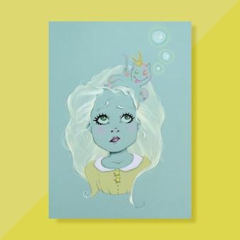 Ręcznie malowana dziewczyna z ośmiornicą na głowie
