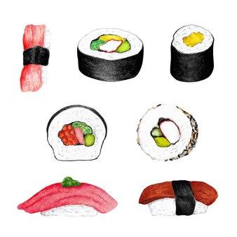Ręcznie malowana ilustracja akwareli sushishi
