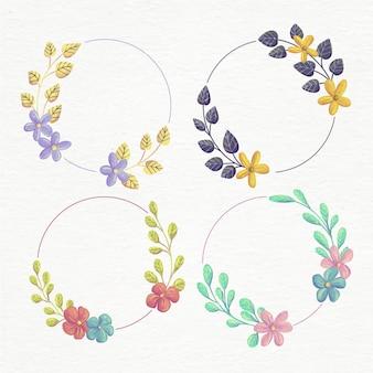 Ręcznie malowana kolekcja akwarelowych wieńców kwiatowych