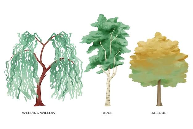 Ręcznie malowana kolekcja drzew