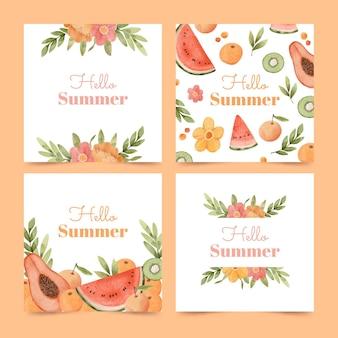 Ręcznie malowana kolekcja kart akwarela lato