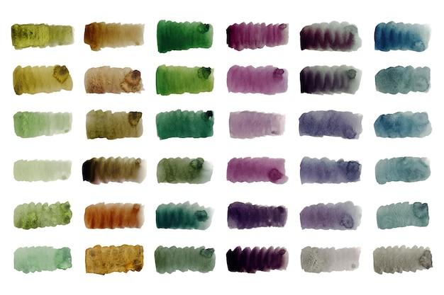 Ręcznie malowana kolekcja kolorowych pociągnięć pędzlem akwarelowym