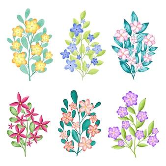 Ręcznie malowana kolekcja kwiatów akwarela