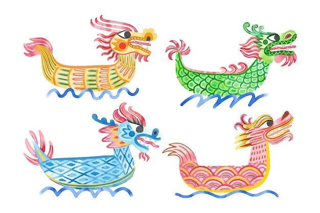 Ręcznie malowana kolekcja łodzi smoka akwarela