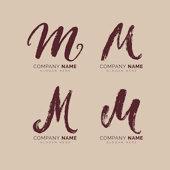 Ręcznie malowana kolekcja logo m.