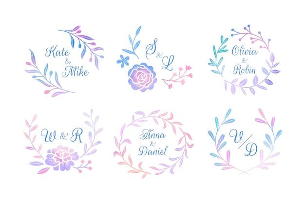 Ręcznie Malowana Kolekcja Monogramów ślubnych Darmowych Wektorów