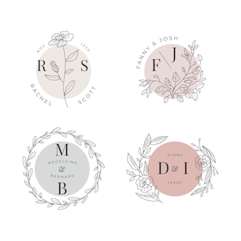 Ręcznie malowana kolekcja monogramów ślubnych