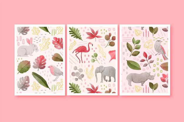 Ręcznie malowana kolekcja okładek akwarela dzikich zwierząt
