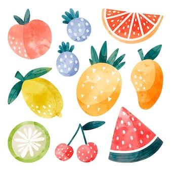 Ręcznie malowana kolekcja owoców akwarela