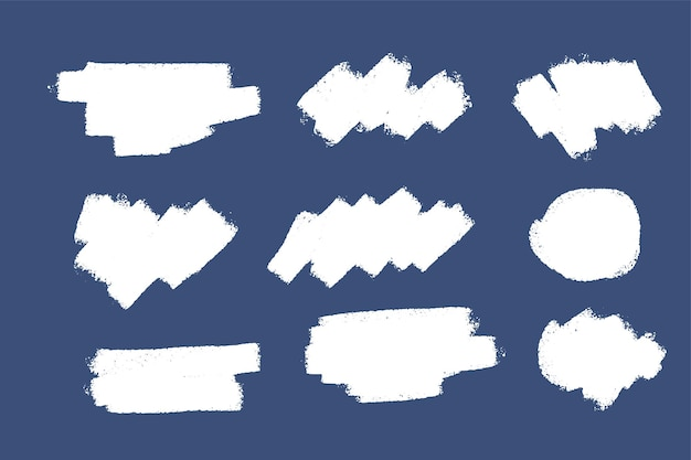 Ręcznie malowana kolekcja pociągnięć farbą białą grunge