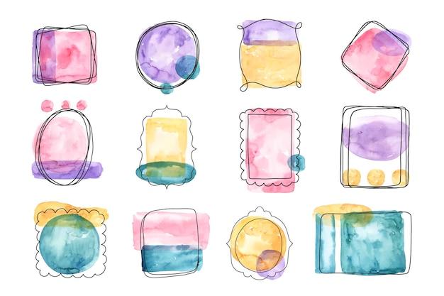 Ręcznie malowana kolekcja ramek akwarela doodle