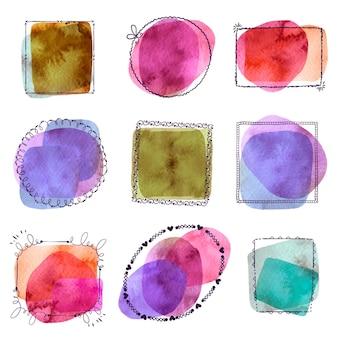 Ręcznie malowana kolekcja ramek doodle akwarela