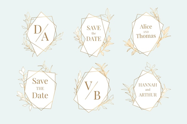 Ręcznie malowana kolekcja ślubnych liniowych płaskich monogramów ślubnych