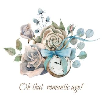 Ręcznie malowana kompozycja akwareli ze starym zabytkowym zegarkiem, budzi i kokardą