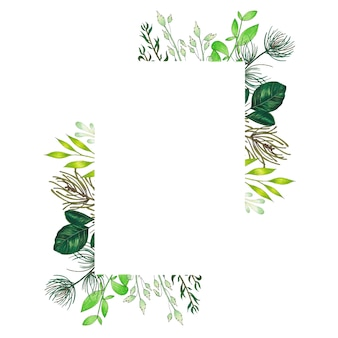 Ręcznie malowana markerem rama z gałązek, gałęzi i zielonych liści abstrakcyjnych