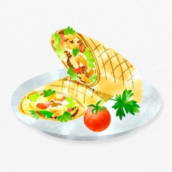 Ręcznie malowana pożywna ilustracja shawarma
