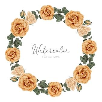 Ręcznie malowana rama koło z żółtą różą kwiatowy akwareli