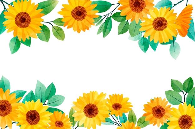 Ręcznie Malowana Tapeta Na Granicy Akwarela Słonecznika Darmowych Wektorów