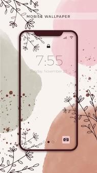 Ręcznie malowana tapeta na telefon komórkowy z roślinami i liśćmi