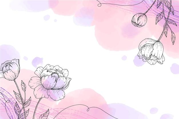 Ręcznie malowana tapeta z ręcznie rysowanymi kwiatowymi elementami