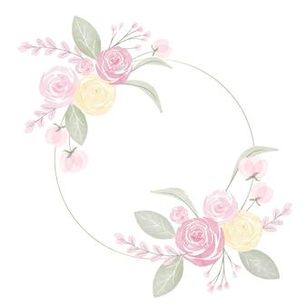 Ręcznie malowana urocza wiosenna ramka w kwiaty