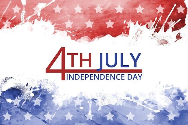 Ręcznie malowane akwarela 4 lipca dzień niepodległości ilustracja