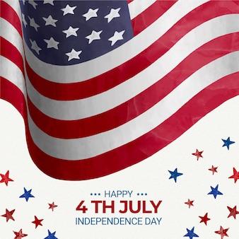 Ręcznie malowane akwarela 4 lipca - ilustracja dzień niepodległości