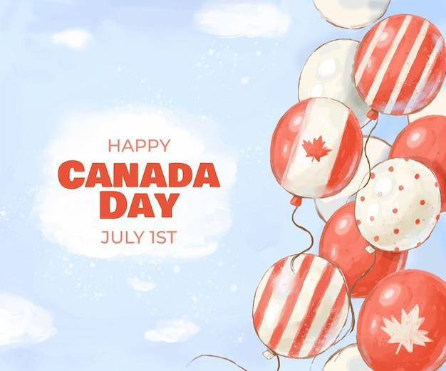 Ręcznie malowane akwarela balony dzień kanady tło