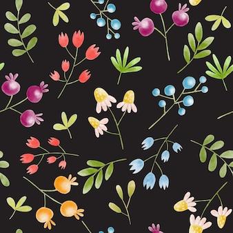 Ręcznie malowane akwarela bezszwowe kwiatowy wzór