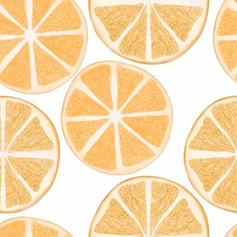 Ręcznie malowane akwarela bezszwowe wzór plasterek pomarańczy cytrusowych