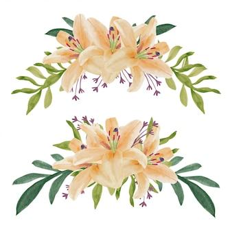 Ręcznie malowane akwarela bukiet kwiatów lilii krzywa