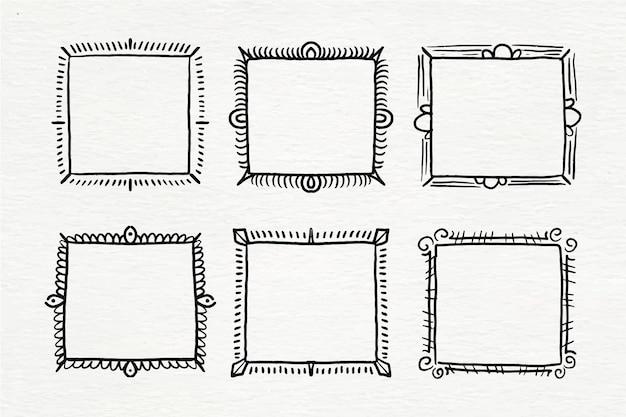 Ręcznie malowane akwarela doodle zestaw ramek