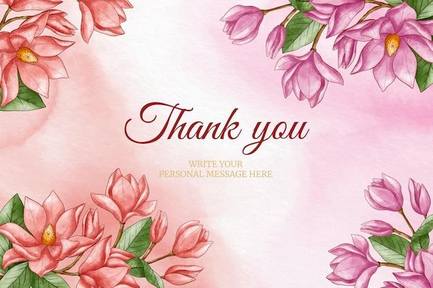 Ręcznie malowane akwarela dziękuję kwiatowym tle
