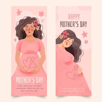 Ręcznie malowane akwarela dzień matki banery zestaw