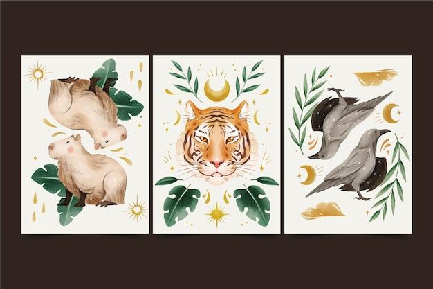 Ręcznie malowane akwarela dzikich zwierząt obejmuje kolekcję