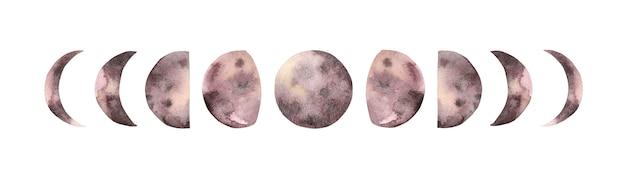 Ręcznie malowane akwarela fazy księżyca.