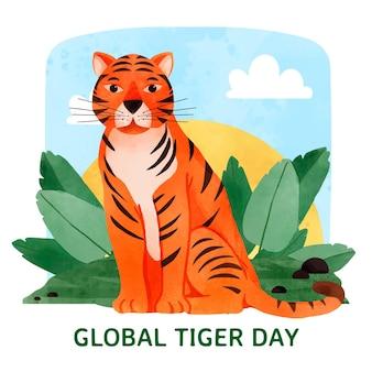Ręcznie malowane akwarela globalny dzień tygrysa